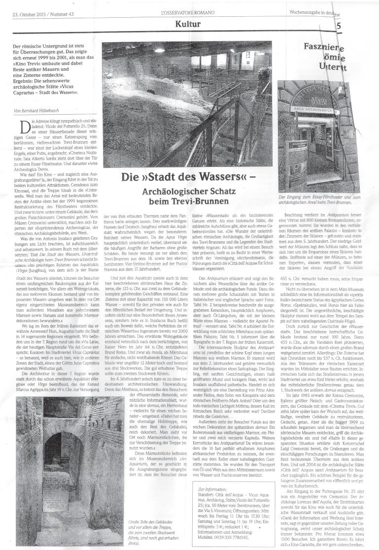 """""""Die Stadt des Wassers"""", archäologischer Schatz beim Trevi-Brunnen. Osservatore Romano del 23 Ottobre 2015, edizione tedesca."""